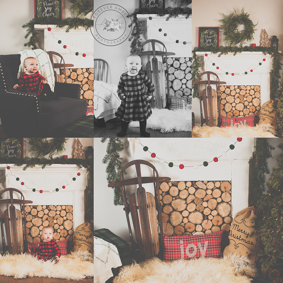 Studio Holiday Mini Session with Vintage Mantle