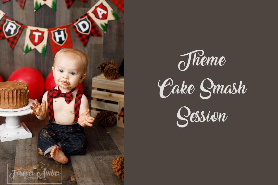Lumberjack theme smash cake session on wood backdrop