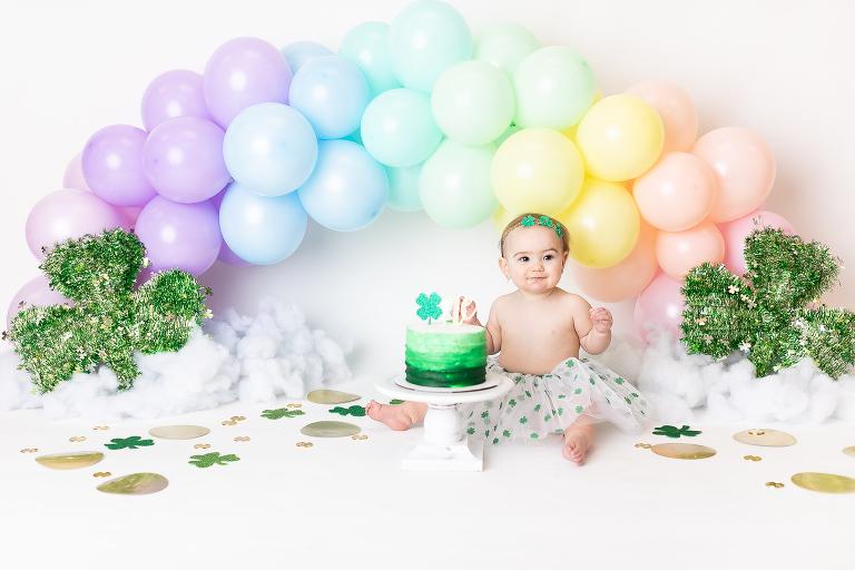 rainbow balloon arch first birthday set